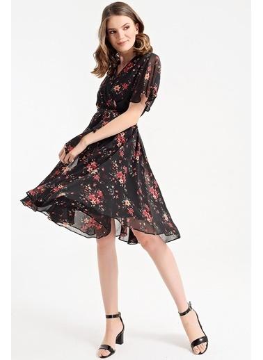 Jument Kruvaze Şifon Elbise  Siyah